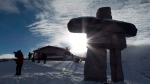 An inukshuk is pictured on top of Whistler mountain in Whistler, B.C., Friday, Dec. 26, 2014. (Jonathan Hayward /  THE CANADIAN PRESS)