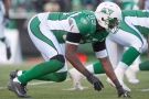 Saskatchewan Roughriders defensive end Alex Hall lines up against the Edmonton Eskimos during the second half of CFL football action in Regina, Sask., Saturday, October 12, 2013. The Riders defeat the Eskimos 14-9.THE CANADIAN PRESS/Liam Richards