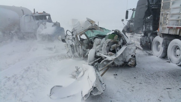 Blowing snow was likely a factor in a multi-vehicle pileup on Highway 402 near Nauvoo Rd. in Lambton County, Ont. on Thursday, Feb. 12, 2015. (Courtesy Jeremy MacKnott)