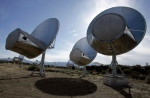 In this Oct. 9, 2007 photo, radio telescopes of the Allen Telescope Array are seen in Hat Creek, Calif. An array of 42 radio telescopes were seeking signs of intelligent life in the universe. (AP / Ben Margot)