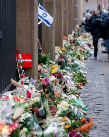 Flowers lay where one person killed in Denmark