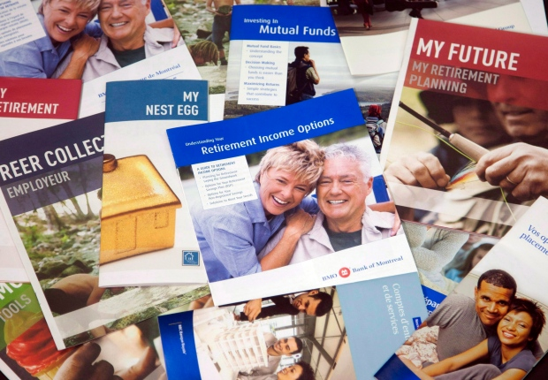 Brochures offering various retirement savings options are pictured in Montreal, on February 3, 2012. (Ryan Remiorz / THE CANADIAN PRESS)