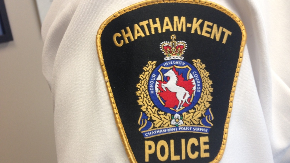 The Chatham-Kent police crest is seen on a uniform in Chatham, Ont. (Chris Campbell / CTV Windsor)