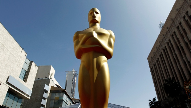 An Oscar statue is seen on the red carpet before the 84th Academy Awards in Los Angeles, Feb. 25, 2012. (AP / Matt Sayles, File)