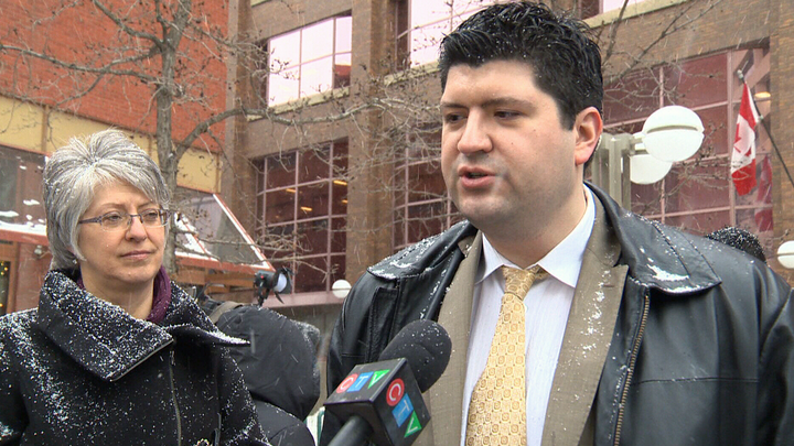 Lawyer Chris Bataluk speaks to reporters in Edmonton on Monday, February 16, 2015.