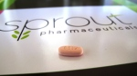A tablet of flibanserin on a brochure for Sprout Pharmaceuticals at the company's Raleigh, N.C., headquarters, on Sept. 27, 2013. (AP / Allen G. Breed)