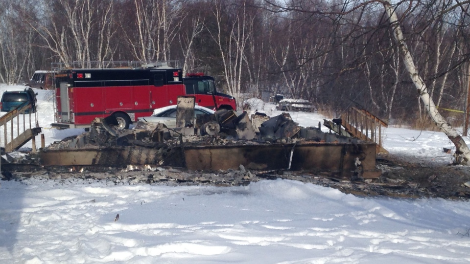 A house sits destroyed after a fire on the Makwa Sahgaiehcan First Nation. Two children died in the blaze, according to RCMP. (Jeremy Thompson/Newcap Television)