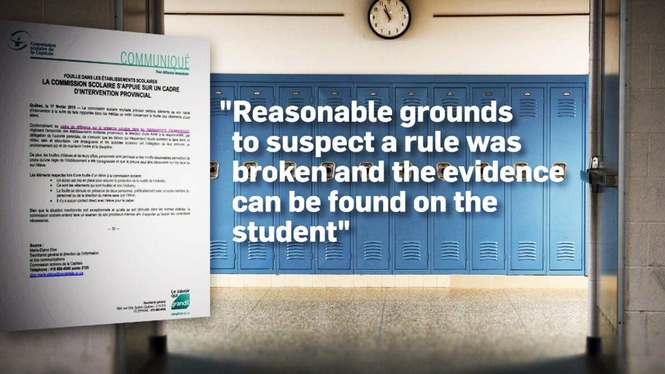 Quebec Education Minister Yves Bolduc says students can be strip-searched in high schools under 'strict' guidelines.