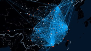 A heat map by Chinese web company Baidu tracks travel routes and destinations during the Chinese New Year holiday period.