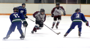 Young hockey players compete in a game on Vancouver Island. (CTV Vancouver)