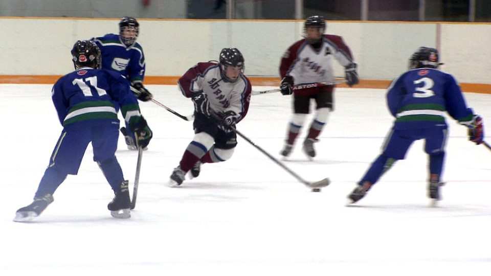 Kids compete in a Vancouver Island minor hockey league game.