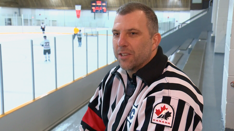 Victoria Minor Hockey Association referee-in-chief Kevin Tattrie takes in a game.