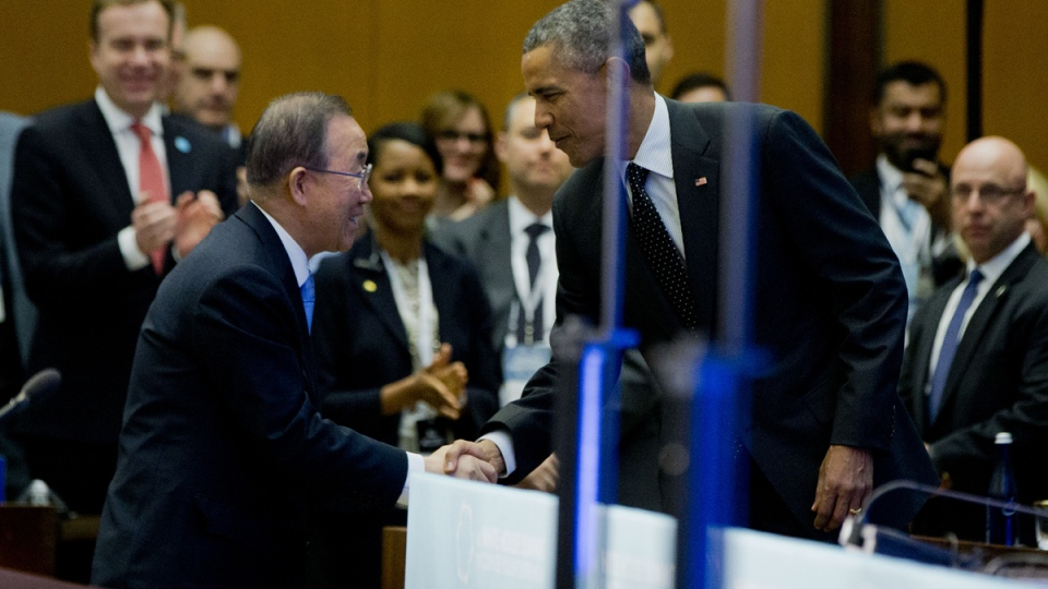 U.S. President Barack Obama stops to greet United Nations Secretary General Ban Ki-moon before taking the stage to speak at the Countering Violent Extremism (CVE) Summit, at the State Department in Washington, Thursday, Feb. 19, 2015. (AP / Carolyn Kaster)