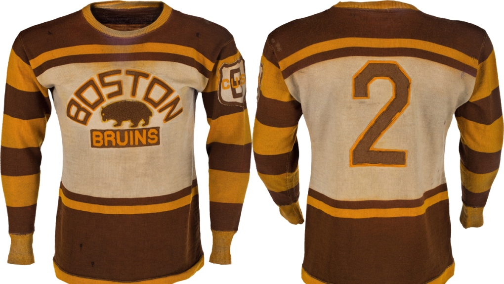 online retailer 1113e 2ff89 Jersey worn by Bruins legend Eddie Shore sells for US ...