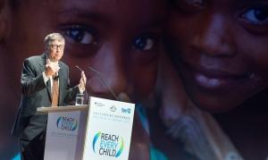 US businessman Bill Gates speaks during the Gavi Pledging Conference in Berlin, Tuesday, Jan. 27, 2015. (AP Photo/dpa,Bernd von Jutrczenka)