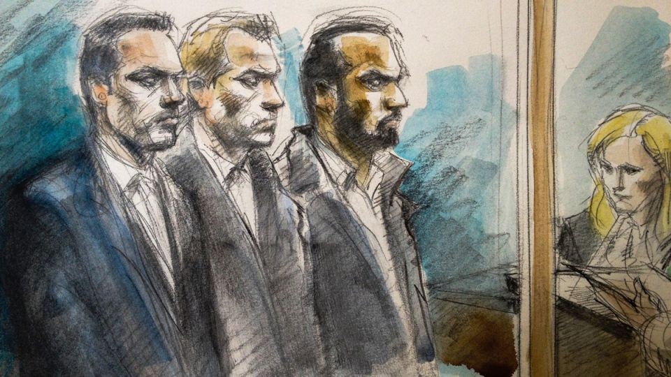 A sketch of Joshua Cabero, 28, left to right, Leslie Nyznik, 38, and Sameer Kara, 31, in a Toronto courthouse, Thursday, Feb. 19, 2015. (Pam Davies)