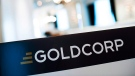 A Goldcorp sign shown at an annual general meeting in Toronto, on May 2, 2013 (Aaron Vincent Elkaim / The Canadian Press)
