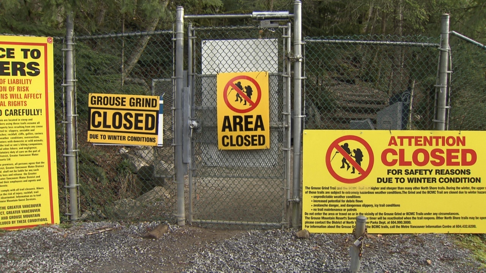 Officials are asking hikers to stay off the Grouse Grind until its ready in the spring. Feb. 19, 2015. (CTV)