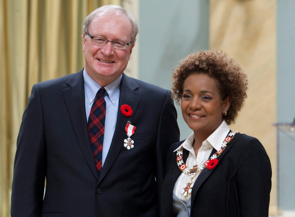 Governor General Michaelle Jean invests Wade MacLauchlan into the Order of Canada during a ceremony in Ottawa in this Nov. 5, 2009 file photo. (Adrian Wyld / THE CANADIAN PRESS)