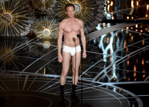 Host Neil Patrick Harris speaks on stage at the Oscars on Sunday, Feb. 22, 2015, at the Dolby Theatre in Los Angeles. (AP / Invision / John Shearer)