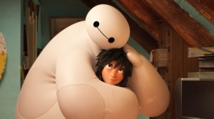 Animated characters Hiro Hamada, voiced by Ryan Potter, right, and Baymax, voiced by Scott Adsit, in a scene from 'Big Hero 6.' (Disney)