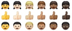 This combination made from images provided by Apple Inc. shows new emojis, the cute graphics that punctuate online writing and texts, that will be available with the next iOS update. (AP / Apple Inc.)