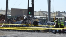 Train derailment wreckage in Oxnard, Calif.