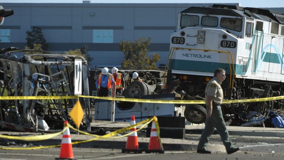 California commuter train crash sends 30 to hospital after