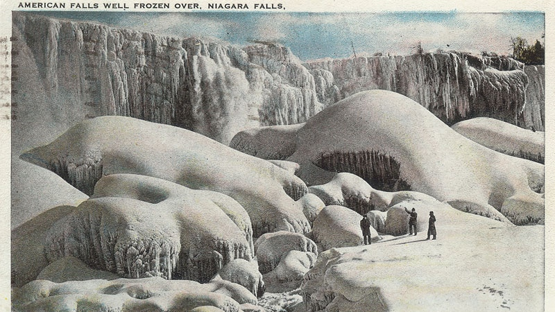 A postcard shows a partially frozen Niagara Falls in the 1920s. The postcard was mailed to Merscedda Shakelton of Hamilton in 1925. (Sent to CTVNews.ca by viewer Pam Wong)