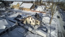 A home destroyed by an evening fire is seen in Clinton, Ont. on Wednesday, Feb. 25, 2015. (Rob Boyce / Over Yonder Aerials)