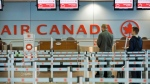 Air Canada passengers queue at Trudeau Airport in Montreal, on Friday, Apr. 13, 2012. (THE CANADIAN PRESS/Graham Hughes)