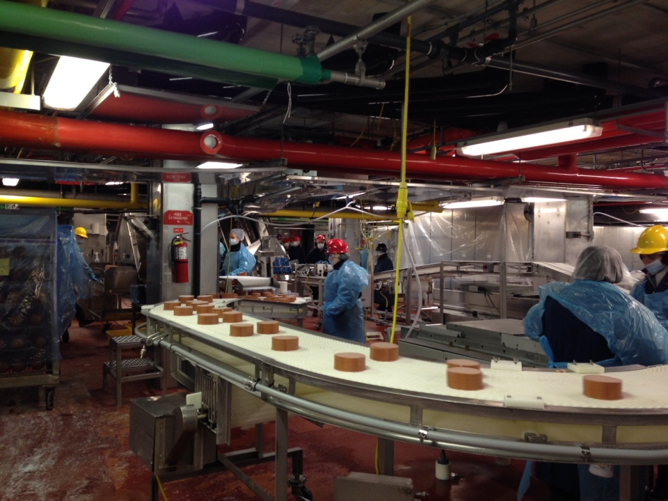 One of the last batches of baloney makes its way down the production line at the Schneiders plant in Kitchener on Thursday, Feb. 26, 2015. (David Imrie / CTV Kitchener)