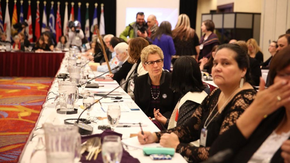 Ontario Premier Kathleen Wynne posted this photo of the roundtable on missing and murdered Aboriginal women on Twitter on Friday, Feb. 27, 2015.