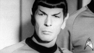Leonard Nimoy pose on the set of the television series 'Star Trek' in this undated photo. (AP Photo)