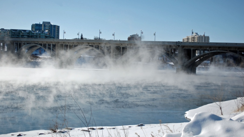 Steam rises above the South Saskatchewan River near the Broadway Bridge Feb. 21, 2015.