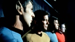 """This undated file photo shows actors in the TV series """"Star Trek,"""" from left, Leonard Nimoy as Commander Spock, William Shatner as Captain Kirk, DeForest Kelley as Doctor McCoy and James Doohan as Commander Scott. (AP/Paramount Television ,File)"""