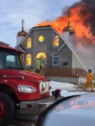 Fire crews were called out around mid-day Saturday to put out a fire at a Thorhild church. Photo supplied.
