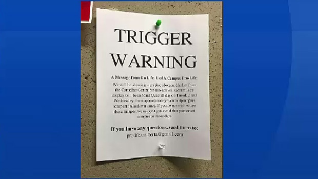 Many University of Alberta students are upset after seeing a notice warning about an upcoming pro-life display with graphic abortion images.