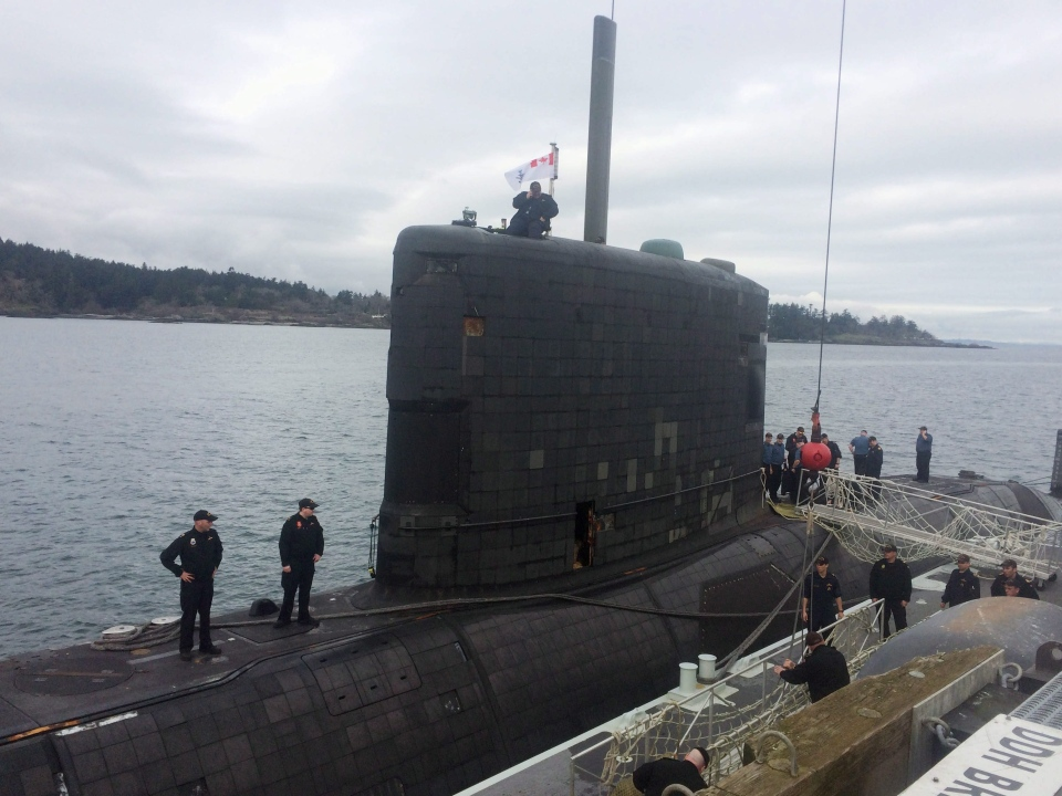 The HMCS Victoria sits at dock at Canadian Forces Ammunition Depot Rocky Point in Victoria, B.C., on Feb. 26, 2015. (Dirk Meissner / The Canadian Press)