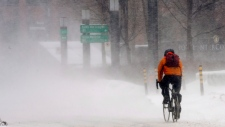A cyclist braves snow and windchill in Montreal