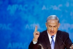 Israeli Prime Minister Benjamin Netanyahu gestures while addressing the 2015 American Israel Public Affairs Committee (AIPAC) Policy Conference in Washington, Monday, March 2, 2015. (AP / Cliff Owen)