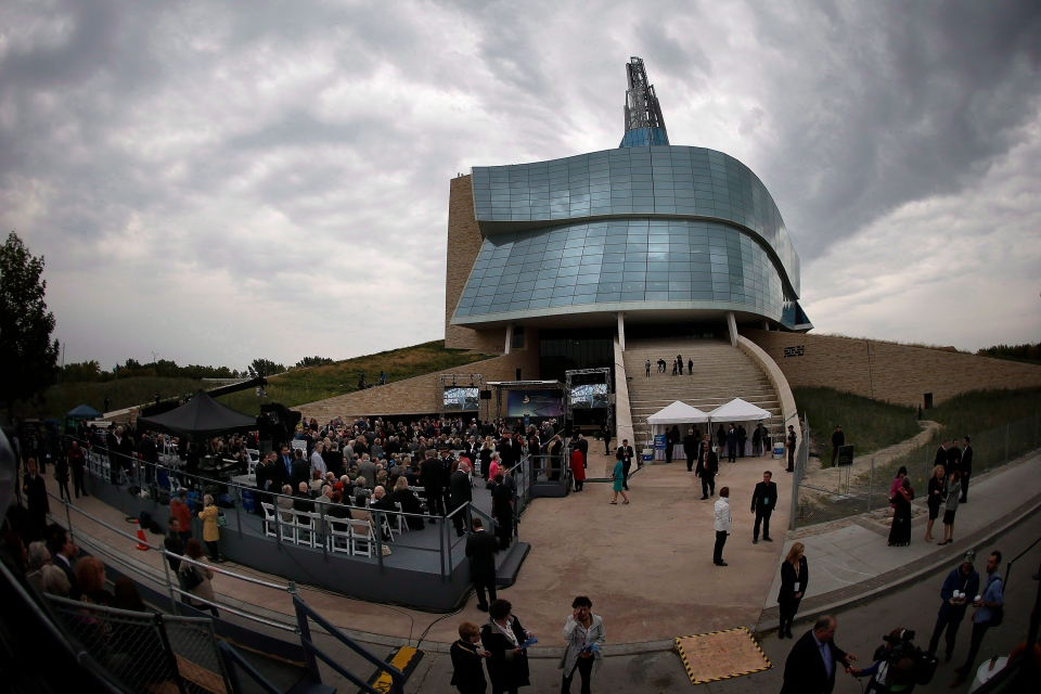 Guests gather at the grand opening of the Canadian Museum For Human Rights in Winnipeg on September 17, 2014. (John Woods / THE CANADIAN PRESS)