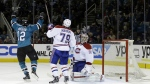 San Jose Sharks' Patrick Marleau celebrates after scoring past Montreal Canadiens' Andrei Markov and goalie Carey Price during the third period of an NHL game on March 2, 2015, in San Jose, Calif. (AP / Marcio Jose Sanchez)
