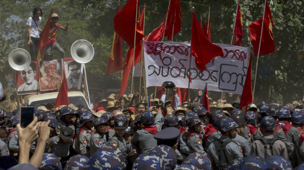 Students up against police in Myanmar protest