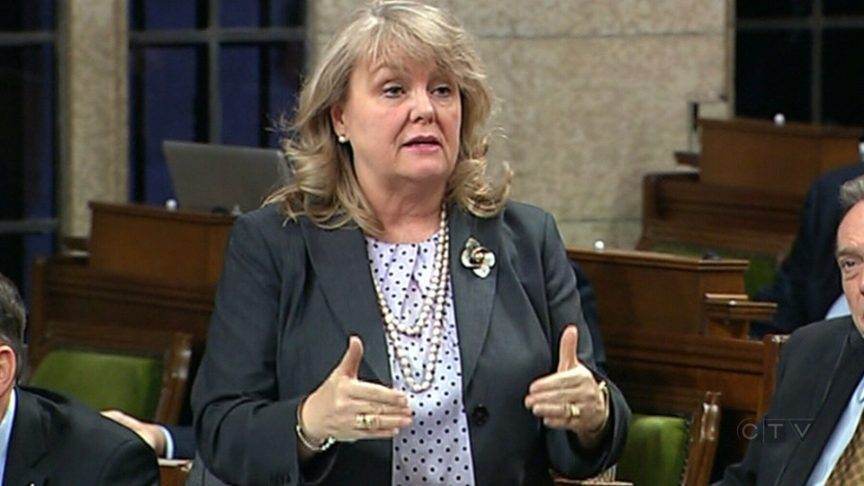 Minister of National Revenue Kerry-Lynne Findlay stands and speaks in the House of Commons in Ottawa.