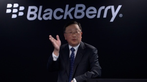 Blackberry's John Chen at the Mobile World Congress in Barcelona, Spain, on March 3, 2015. (AP / Manu Fernandez)