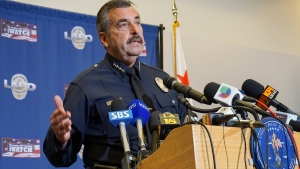 Los Angeles Police Chief Charlie Beck talks to reporters on March 2, 2015. (AP / Damian Dovarganes)