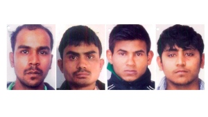 This undated combination image made of photos obtained by the Associated Press, shows convicted rapists, from left, Mukesh Singh, Akshay Thakur, Vinay Sharma and Pawan Gupta.