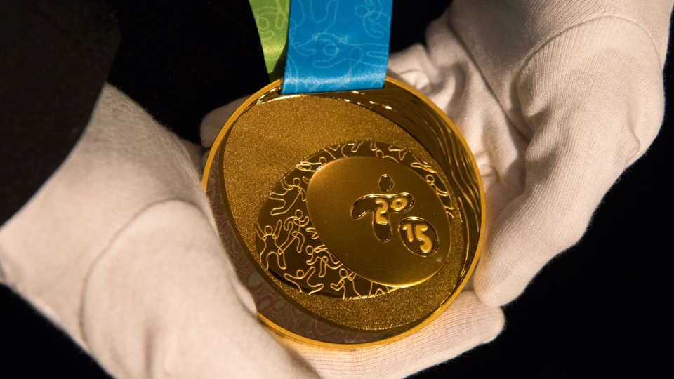 A Toronto 2015 Pan Am Games gold medal in Toronto on March 3, 2015. (Chris Young / THE CANADIAN PRESS)
