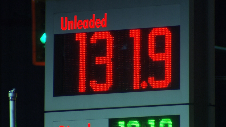 A Shell station in Vancouver, B.C., advertises gas at $1.31 per litre on Tuesday, March 3, 2015. (CTV)